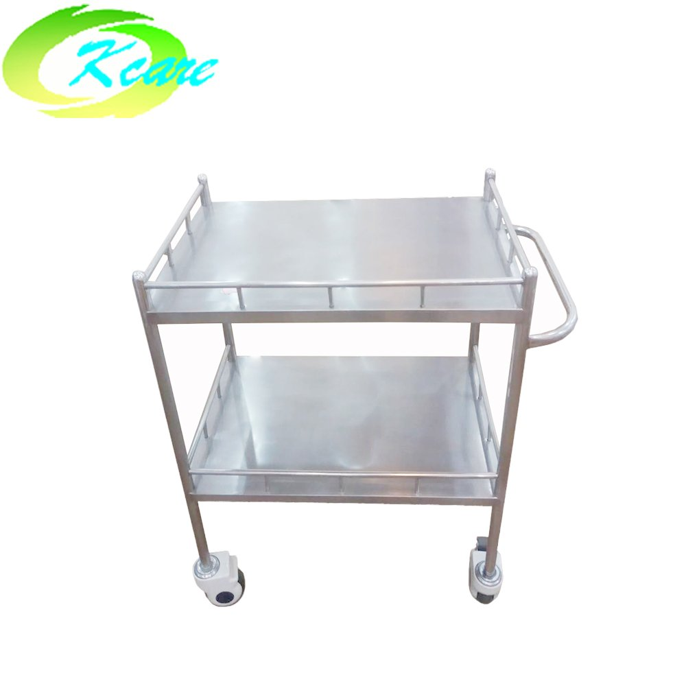 Two-shelf hospital stainless steel trolley cart with deluxe wheels KS-B07