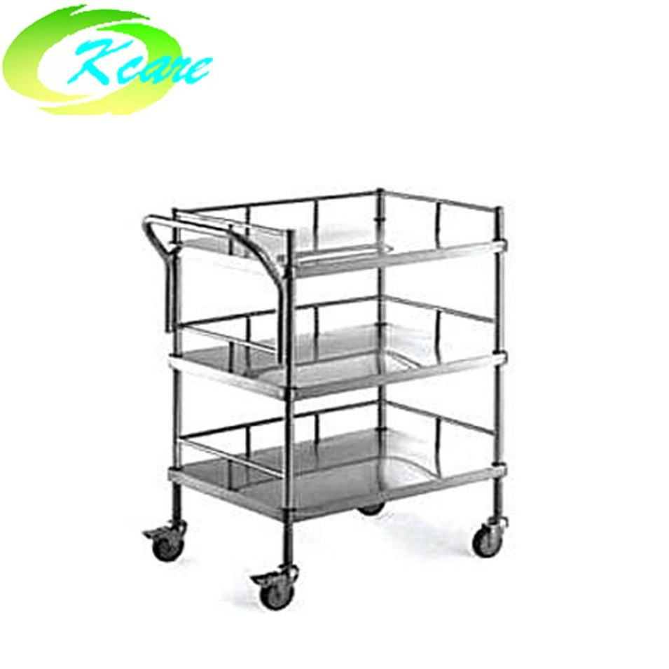 Stainless steel three shelves hospital medical equipment trolley cart  KS-B09