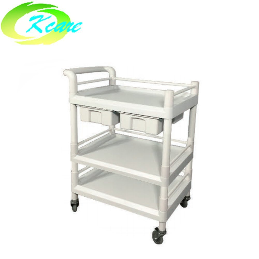 ABS three-shelves hospital instrument emergency trolley with double cabinet  KS-B15