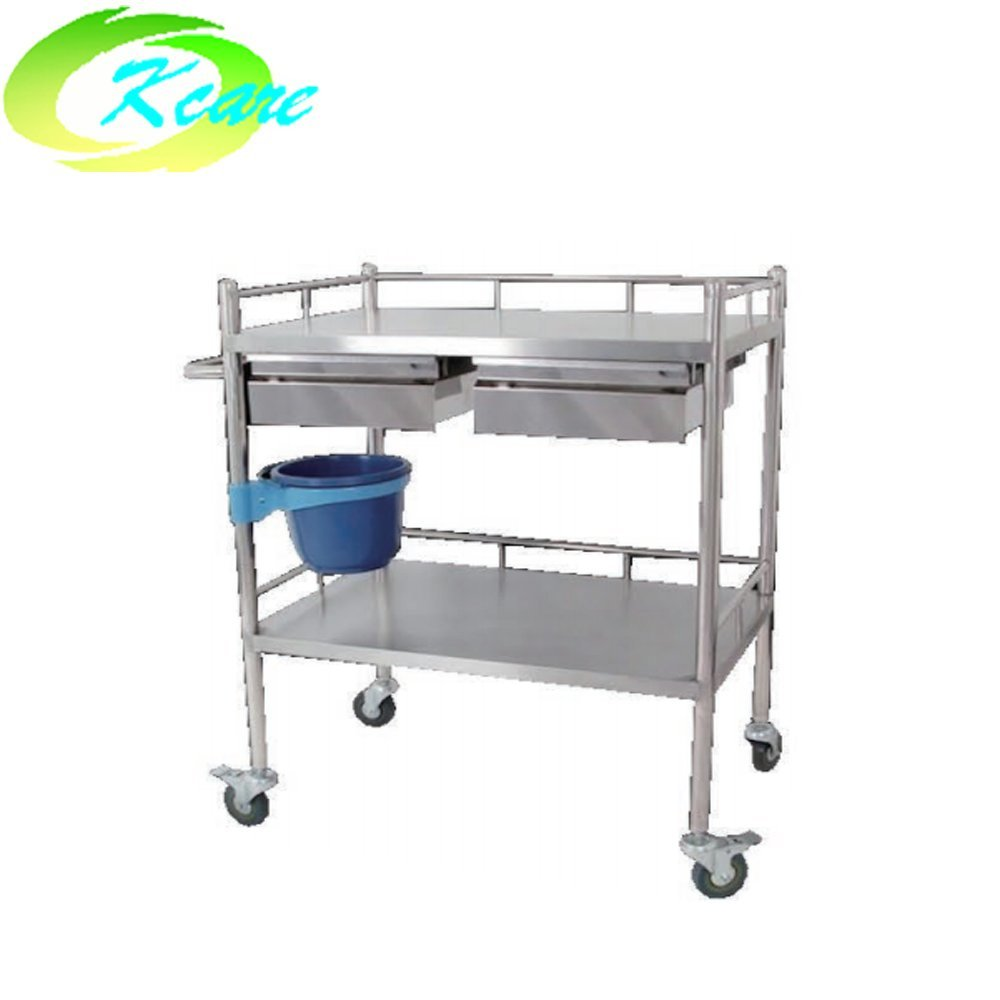 Stainless steel hospital medicine service trolley with double cabinet KS-B24