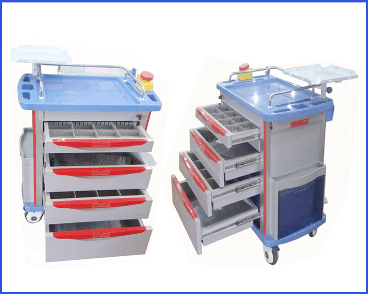 Kangshen Medical Brand trolley cart abs medical trolley with drawers