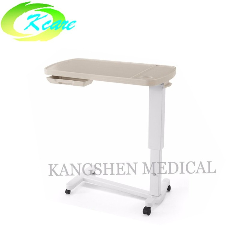 Adjustable hi-lo height abs plastic hospital over-bed table KS-D05x