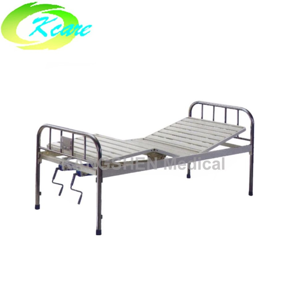S.S. head and foot board steel manual hospital bed with two crank  KS-323