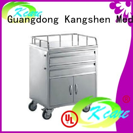 quality wheels hospital trolley two-shelf Kangshen Medical Brand